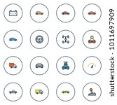 automobile icons colored line... | Shutterstock .eps vector #1011697909