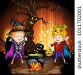 boys in halloween costume... | Shutterstock . vector #1011702001