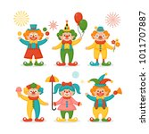 cute clown character design set.... | Shutterstock .eps vector #1011707887