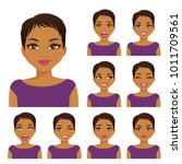 woman emotion set | Shutterstock .eps vector #1011709561