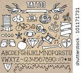 old school tattoo objects... | Shutterstock .eps vector #101171731