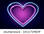 two heart neon sign. blue and... | Shutterstock . vector #1011719839