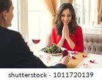 young couple having romantic... | Shutterstock . vector #1011720139