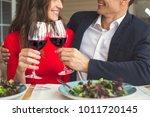 young couple having romantic... | Shutterstock . vector #1011720145