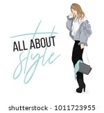 vector fashion illustration.... | Shutterstock .eps vector #1011723955