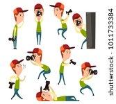 Cartoon Set Of Boy With Camera...