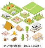 isometric camping and hiking... | Shutterstock .eps vector #1011736354