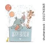 little lovely rhino with... | Shutterstock .eps vector #1011743365