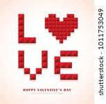 red love   heart shape in 3d... | Shutterstock .eps vector #1011753049