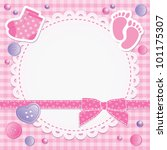 Stock vector baby frame with pink bow and stickers 101175307