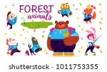 vector set of flat friendly... | Shutterstock .eps vector #1011753355