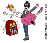 an image of a sock hop rock and ... | Shutterstock .eps vector #1011754129