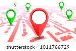 gps navigator pointer on city... | Shutterstock .eps vector #1011766729