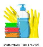 bottle of detergent  sponge and ... | Shutterstock .eps vector #1011769921