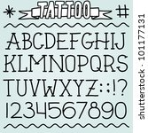 old school tattoo alphabet and... | Shutterstock .eps vector #101177131