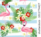 flamingo and tropic leaves on...   Shutterstock .eps vector #1011774427