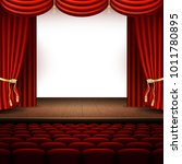 stage with red curtain. and... | Shutterstock .eps vector #1011780895