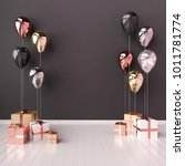 Stock photo  d interior illustration with black golden silver and rose gold balloons and gift boxes glossy 1011781774