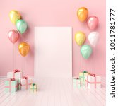 3d interior mock up... | Shutterstock . vector #1011781777