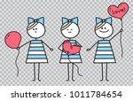 cute girl holds heart shaped... | Shutterstock .eps vector #1011784654