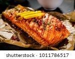 grilled salmon with vegetables... | Shutterstock . vector #1011786517