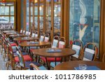 typical caf  terrace in paris ... | Shutterstock . vector #1011786985
