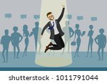 cartoon job candidate won and... | Shutterstock .eps vector #1011791044