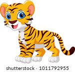 cute tiger cartoon isolated on... | Shutterstock . vector #1011792955