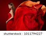 woman flying dress  elegant... | Shutterstock . vector #1011794227