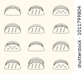 set of outline tortilla tacos...   Shutterstock .eps vector #1011799804