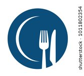 fork and knife on blue plate... | Shutterstock .eps vector #1011802354