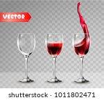 transparency wine glass. empty... | Shutterstock .eps vector #1011802471