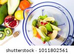 Various Fruits In A Blender Fo...