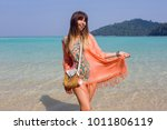 cheerful pretty girl posing on... | Shutterstock . vector #1011806119