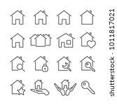 vector image set house line... | Shutterstock .eps vector #1011817021
