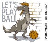 dinosaur playing basketball.... | Shutterstock .eps vector #1011820864