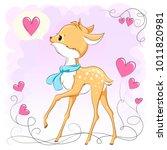 cute baby deer with hearts.... | Shutterstock .eps vector #1011820981