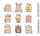 Stock vector cute pets doodles set of hand drawn animals with hearts cat bunny bird dog fish pig 1011821527
