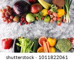 composition with variety of raw ... | Shutterstock . vector #1011822061