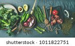 winter vegetarian  vegan food... | Shutterstock . vector #1011822751