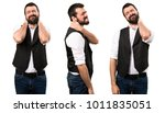 set of cool man with neck pain | Shutterstock . vector #1011835051