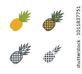 pineapple flat line silhouette... | Shutterstock .eps vector #1011837751