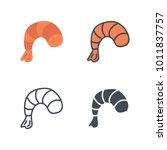 shrimp flat line silhouette... | Shutterstock .eps vector #1011837757