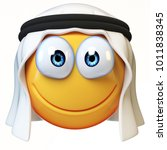 arab emoji isolated on white... | Shutterstock . vector #1011838345