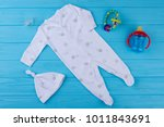 white cotton baby sleeper with... | Shutterstock . vector #1011843691