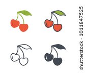 cherry flat outlined solid... | Shutterstock .eps vector #1011847525