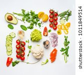 various salad vegetables...   Shutterstock . vector #1011849514