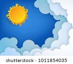 white paper cut clouds and sun... | Shutterstock .eps vector #1011854035