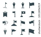 pennant icons. set of 16... | Shutterstock .eps vector #1011856519