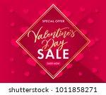 valentines day golden lettering ... | Shutterstock .eps vector #1011858271
